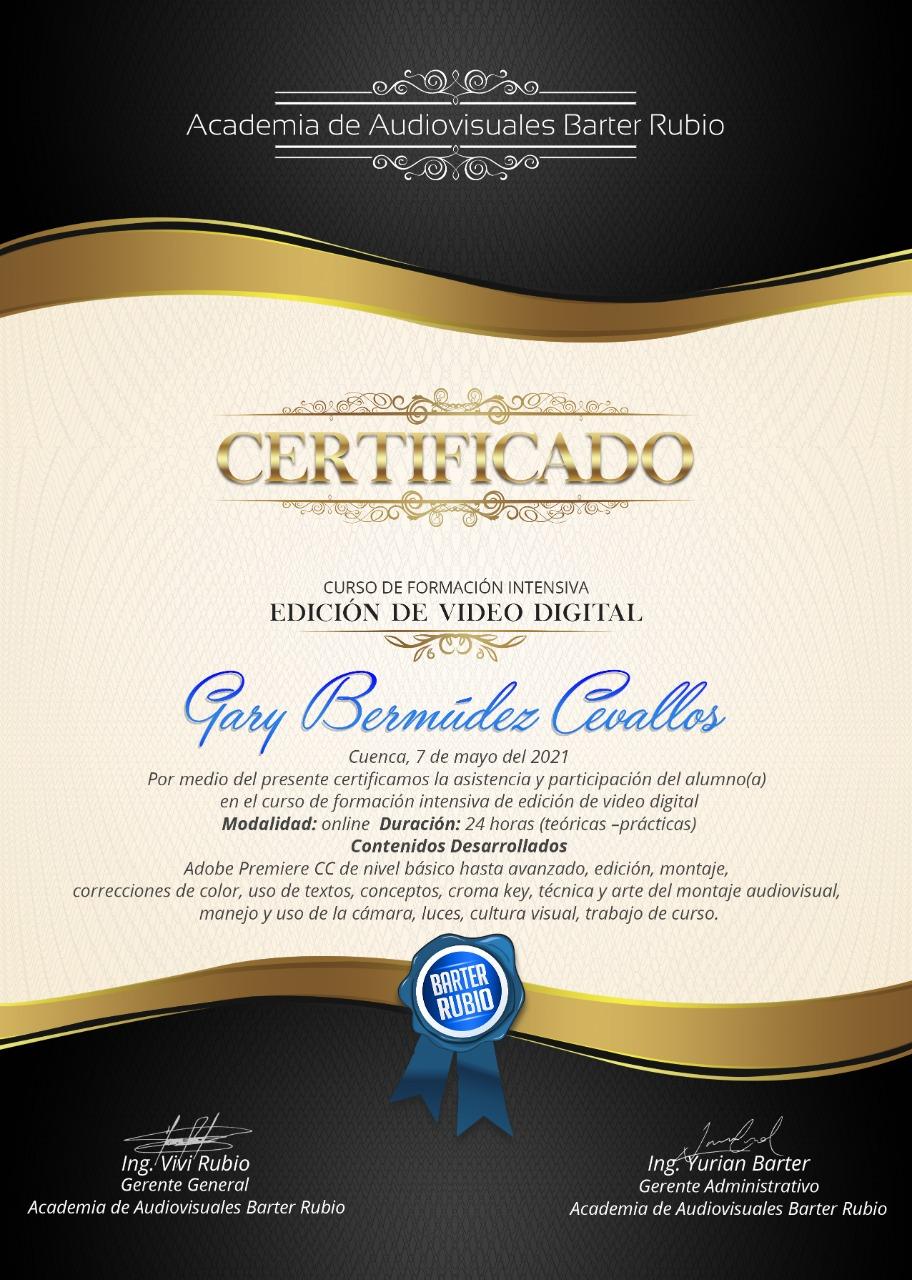 Certificado Curso de Edición de Video